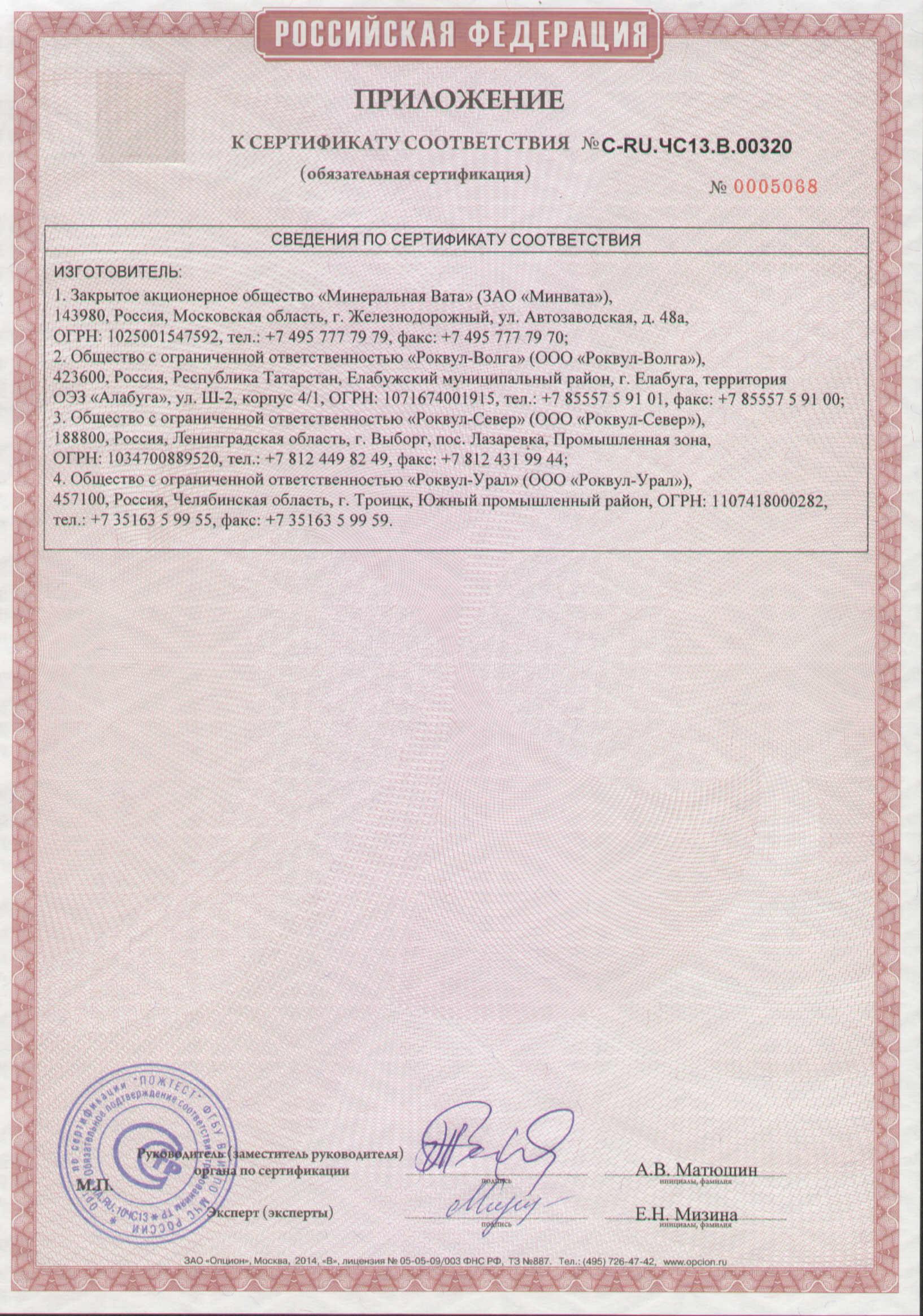 роквул лайт баттс сертификат